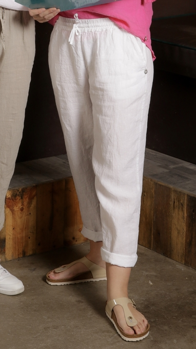 Langestrand bukse i 100% lin - hvit