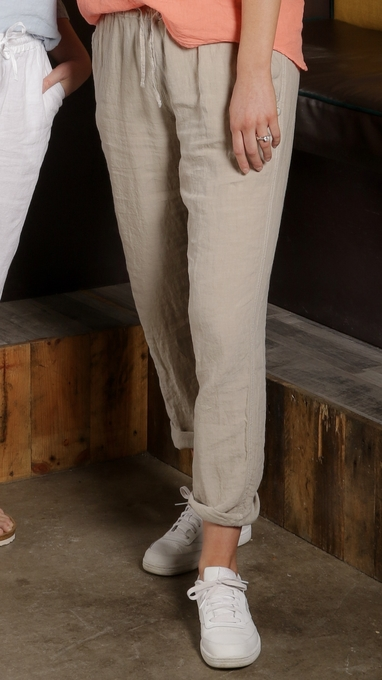 Langestrand bukse i 100% lin - kaki