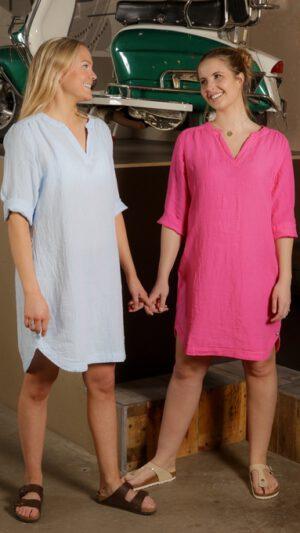 Kjole lin lys blå og rosa 2