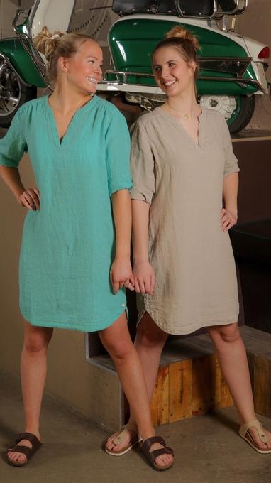 Solsiden kjole i 100% lin sjøgrønn og kaki r