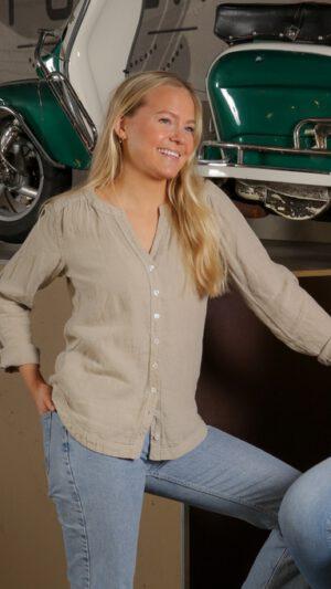 Stavern skjorte i 100% lin -Kaki