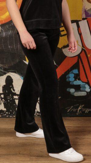 Sola bukse i svart bomullsvelur